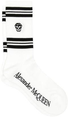 Alexander McQueen Sport Stripe Skull Socks