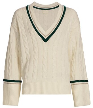 LOULOU STUDIO Varsity Wool & Cashmere Cable-Knit Sweater