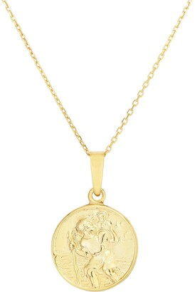Sphera Milano 14K Yellow Gold Plated Sterling Silver Religious Coin Pendant Necklace