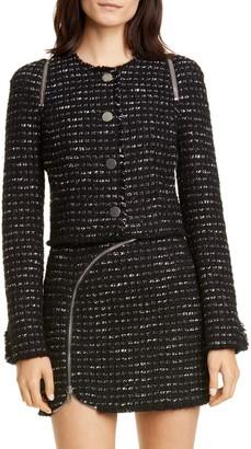 Alexander Wang Zipper Detail Tweed Crop Jacket
