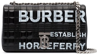 Burberry Horseferry-print quilted patent-leather shoulder bag
