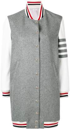 Thom Browne Grey Melton Varsity Jacket