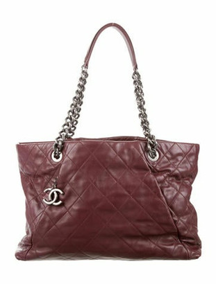 Chanel Quilted Coco Pleats Tote silver