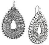 Women's Rhodium Artisan Open Teardrop Dangle Drop Earrings - Silver