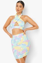 Thumbnail for your product : boohoo Pastel Floral Halter Crop & Mini Skirt