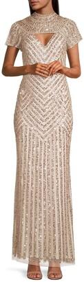 Aidan Mattox Beaded Cutout Gown