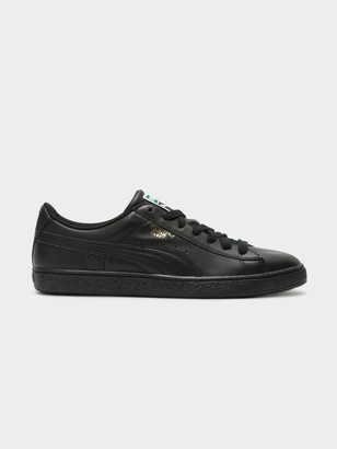 Puma Mens Heritage Basket Classic Sneakers in Black Team Gold