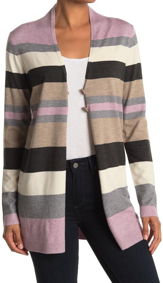 Cyrus Stripe Print Button Front Cardigan