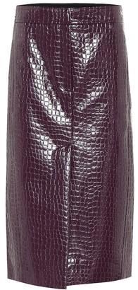 Tibi Croc-effect patent pencil skirt