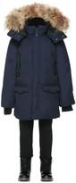 Mackage Jo Winter Down Knee Length Coat With Fur In Navy (8-14 Yrs)