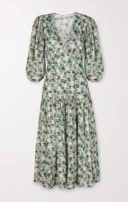 Marysia Swim Imperialis Gathered Printed Cotton Midi Dress - White