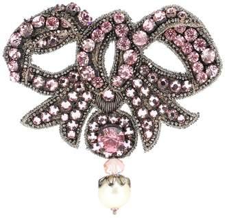 Gucci Crystal-embellished bow brooch