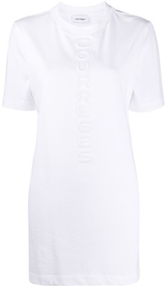 Courreges logo debossed longline T-shirt
