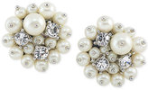Carolee Silver-Tone Crystal and Imitation Pearl Cluster Clip-On Stud Earrings