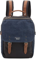 Original Penguin Men's Canvas/Faux-Leather Denim Backpack, Dark Sapphire