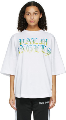 Palm Angels White Hue Gothic Logo T-Shirt