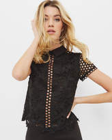 Ted Baker Lace Collared Cropped Top Black