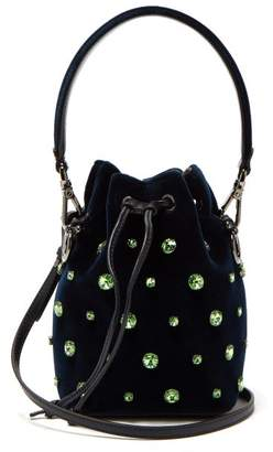 Fendi Mon Tresor Crystal-embellished Velvet Bucket Bag - Womens - Navy Multi