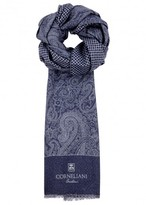 Corneliani Dark Blue Reversible Wool Scarf