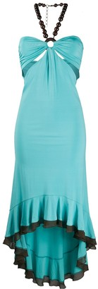 Gianfranco Ferre Pre Owned 1990s beaded halterneck cut-out dress