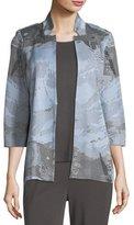 Misook Subtle Stripes & Floral Jacket, Plus Size