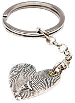 Morgan & French Personalised Inked Fingerprint Heart Keyring, Silver