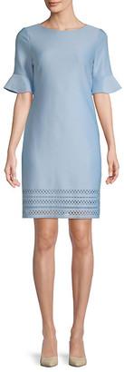 Donna Ricco Scuba Laser-Cut Bell-Sleeve Dress