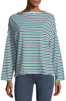 MiH Jeans Extra Striped Long-Sleeve Cotton Top