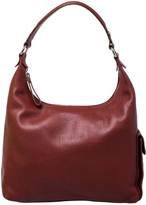 Longchamp Copper Leather Side Pocket Hobo