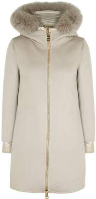 Herno Grey Layered Shell And Cashmere Coat