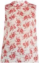 Miu Miu Sleeveless floral-print gauze top