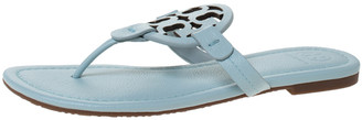 Tory Burch Light Blue Leather Miller Flat Thong Sandals Size 39.5