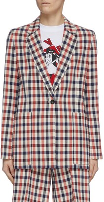 Victoria Victoria Beckham Gingham check print single breast blazer