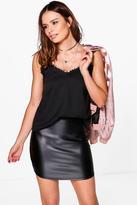 Boohoo Erin Curved Hem Leather Look Mini Skirt