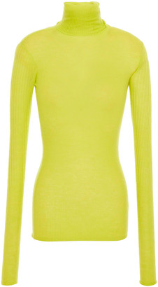 Joseph Neon Ribbed Cashmere Turtleneck Top