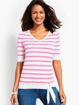 Talbots Relaxed Tie-Front Sweater-Stripe
