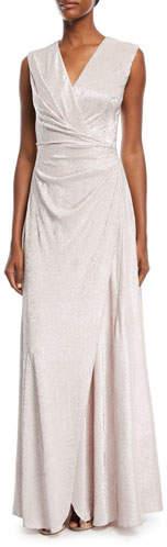 Talbot Runhof Koro Drape-Waist Metallic Gown