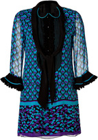 Anna Sui Ying Yang Border Print Dress in Violet Multi