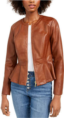 INC International Concepts Inc Petite Faux-Leather Peplum Jacket