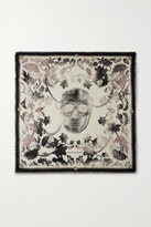 Thumbnail for your product : Alexander McQueen Frayed Printed Wool-twill Scarf - Gray