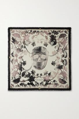 Alexander McQueen Frayed Printed Wool-twill Scarf - Gray