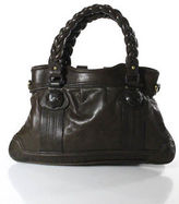 Hoss Intropia Brown Leather Twisted Handles Button Closure Shoulder Handbag