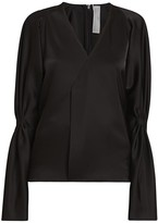 Victoria Beckham Satin Pleat-Sleeve V-Neck Blouse