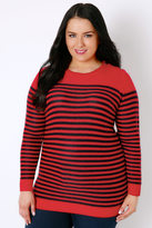 Yours Clothing Red & Navy Stripe Knitted Jumper