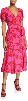 Tanya Taylor Dorothy Printed Short-Sleeve Wrap Dress