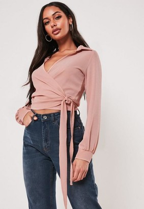 Missguided Blush Wrap Over Tie Side Blouse