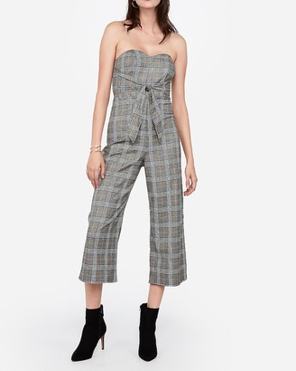 Express Strapless Plaid Knot Front Culotte Jumpsuit