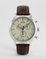 HUGO BOSS Boss By 1513544 Companion Chronograph Leather Watch In Brown