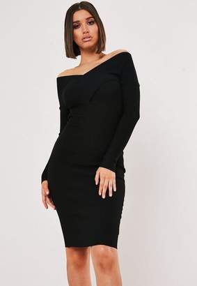 Missguided Black Crossover Front Knit Bodycon Dress