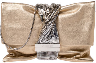 Jimmy Choo Gold Leather Metal Mesh Chandra Clutch